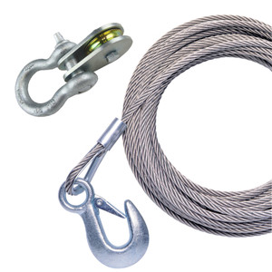 """Powerwinch 50' x 7\/32"""" Stainless Steel Universal Premium Replacement Galvanized Cable w\/Pulley Block [P1096600AJ]"""