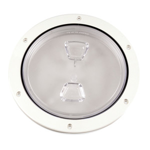 """Beckson 6"""" Clear Center Screw Out Deck Plate - White [DP60-W-C]"""