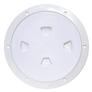 """Beckson 8"""" Smooth Center Screw-Out Deck Plate - White [DP80-W]"""