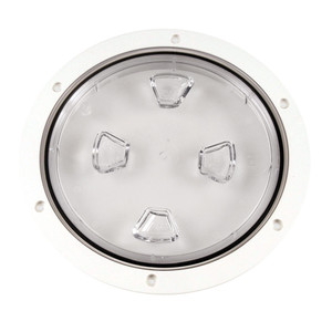 """Beckson 8"""" Clear Center Screw-Out Deck Plate - White [DP80-W-C]"""