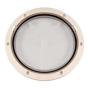 """Beckson 8"""" Clear Center Pry-Out Deck Plate - Beige [DP81-N-C]"""