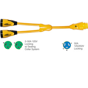 "Marinco Y504-2-503 EEL (2)50A-125V Female to (1)50A-125\/250V Male ""Y"" Adapter - Yellow [Y504-2-503]"
