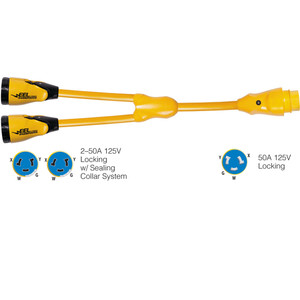 "Marinco Y504-2-504 EEL (2)50A-125\/250V Female to (1)50A-125\/250V Male ""Y"" Adapter - Yellow [Y504-2-504]"