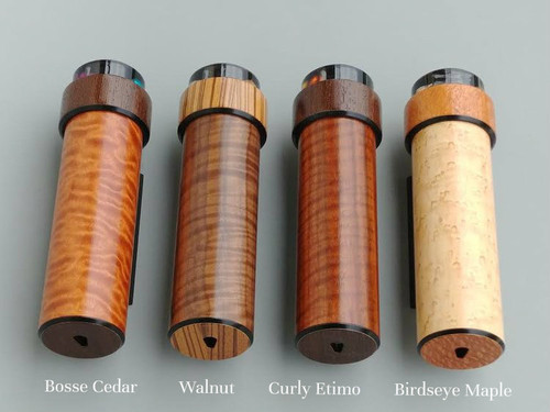 It Figures Wooden Kaleidoscope.  Wood choices (main barrel): Bosse Cedar, Walnut, Curly Etimo'e and Bird's Eye Maple (left to right)