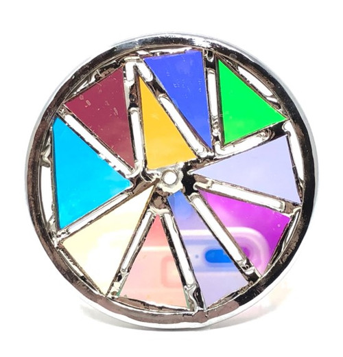 Kaleidoscope Wheel with Smooth Dichroic Glass in Chrome for Chesnik Kaleidoscope
