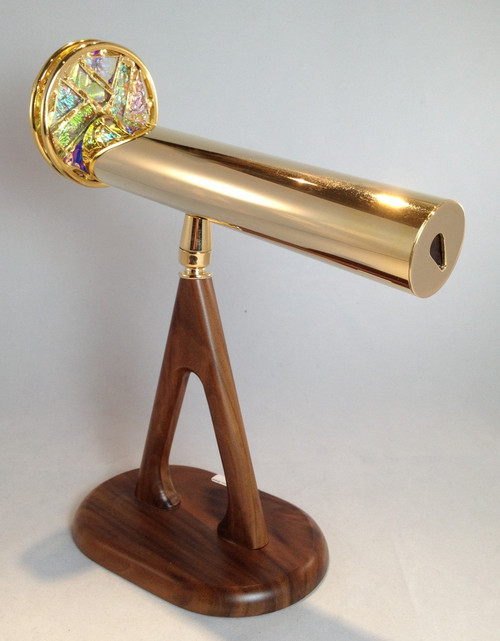 Large Pedestal Kaleidoscope with Dichroic Glass Wheel in Brass by Jon Greene shown attached to its custom walnut swiveled pedestal base