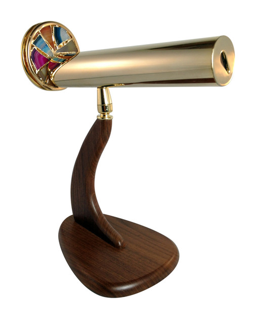 Small Signet Kaleidoscope with Agate Wheel in Brass by Jon Greene shown attached to its custom walnut swivel pedestal stand