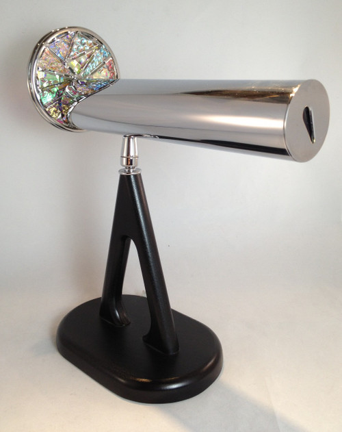 Kaleidoscope - 'Large Pedestal' with Dichroic Glass Wheel in Chrome by Jon Greene | Chesnik Scopes shown attached to its black custom swiveled pedestal base