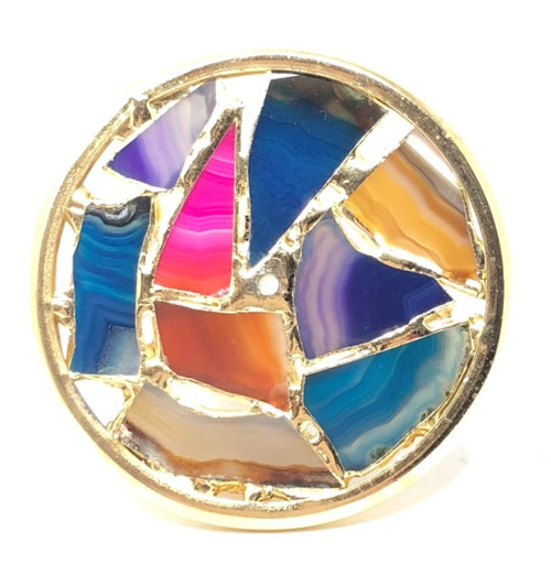 Kaleidoscope Wheel with Brazilian Agate Stone in Brass for Chesnik Kaleidoscope