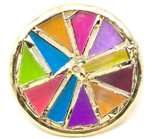 Kaleidoscope Wheel with Smooth Dichroic Glass in Brass for Chesnik Kaleidoscope