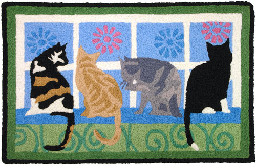 What's a cat's favorite thing to do? This Jellybean® rug sums it up! Where there's a window in a cat owner's house, there's a kitty looking out or napping in front of it. Four cute kitties in all different colors are enjoying the outside scenery through an open window.
