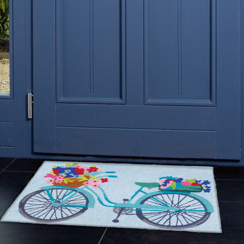 Flower Basket On Bicycle - Jellybean Rugs