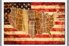 """""""USA  FLAG  MAP""""  PRINTED ON WOOD"""