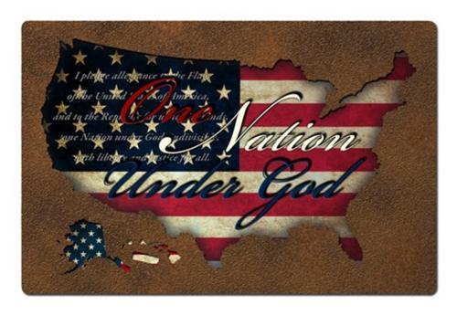 """USA  Flag  Pledge  Cutout"" Metal Sign"