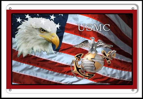 """USMC TRIBUTE FLAG & EAGLE ""    METAL SIGN"