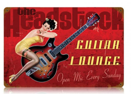 """GUITAR  LOUNGE""  METAL  SIGN"