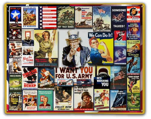 """World War II  Posters""  Metal  Sign"