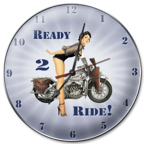 """Ready  2 Ride Navy""      Clock"