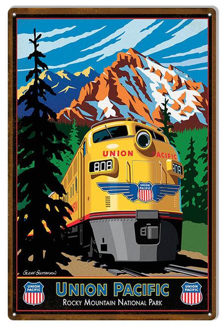 """UNION PACIFIC ROCKY MOUNTAIN RAILROAD""  METAL  SIGN"