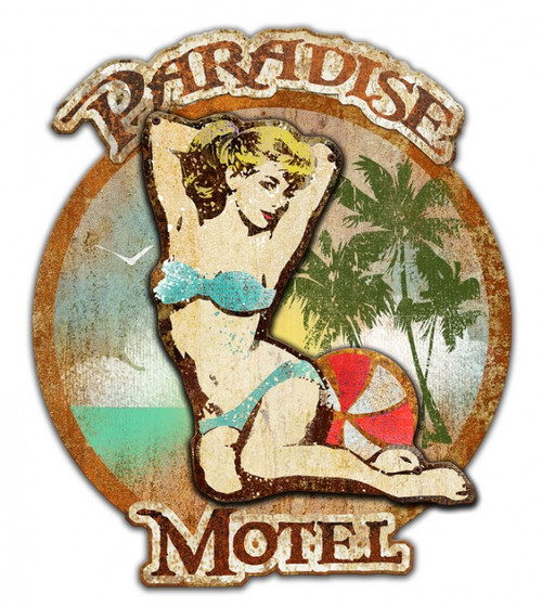 """PARADISE  MOTEL--3-D""  METAL  SIGN"