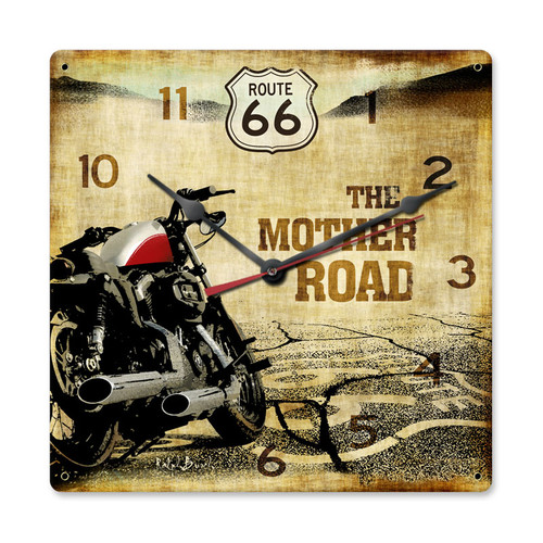 """ROUTE  66  & MOTORCYCLE--THE MOTHER  ROAD""   CLOCK"