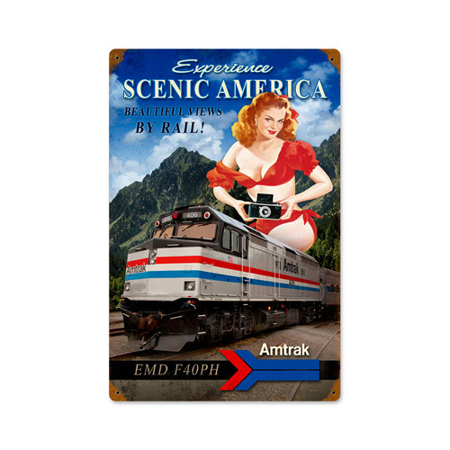 """SCENIC  AMERICA""   VINTAGE  METAL  SIGN"