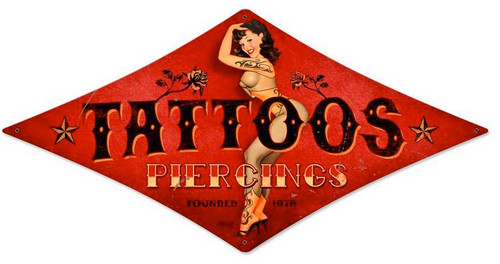 "'TATTOOS""   VINTAGE  METAL  SIGN"
