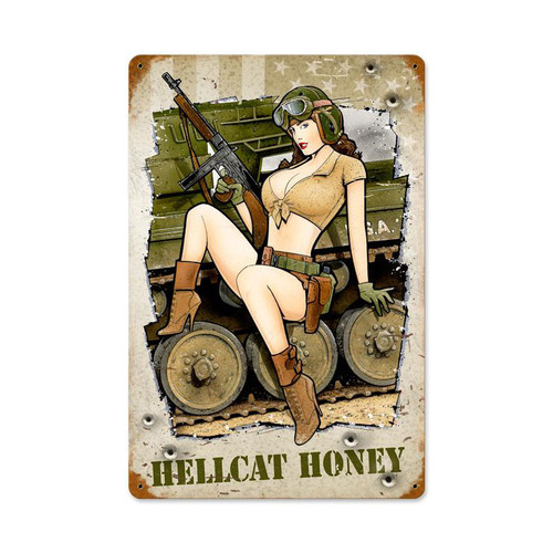 """HELLCAT  HONEY""  VINTAGE  METAL  SIGN"