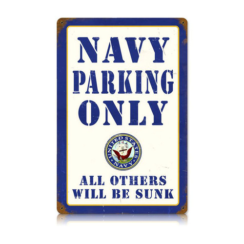 """NAVY  PARKING""  VINTAGE  METAL  SIGN"