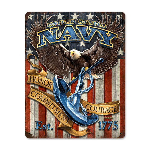 """USN  EAGLE"" VINTAGE METAL SIGN"