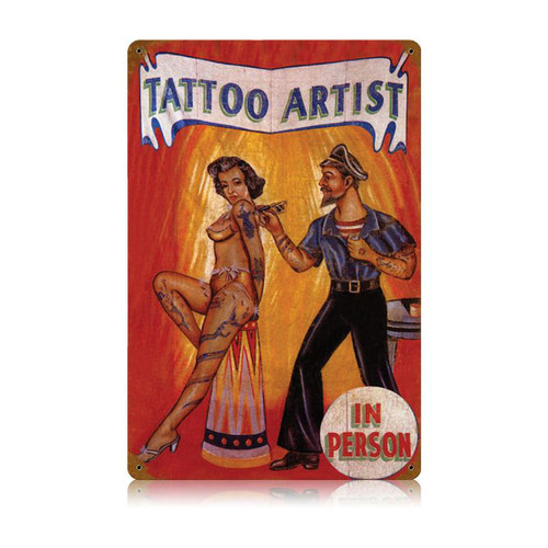 """TATTOO  ARTIST""  VINTAGE METAL SIGN"