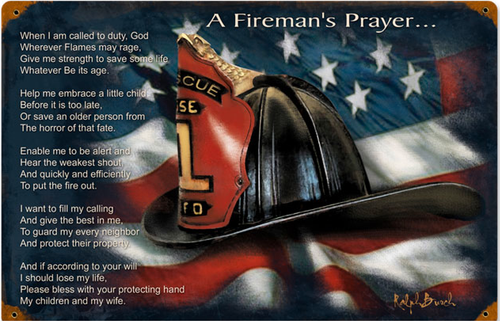 """FIREMAN'S  PRAYER""  METAL  SIGN"