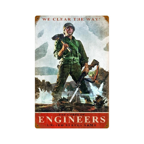 """""""ARMY  CORPS  OF  ENGINEERS"""" METAL  SIGN"""