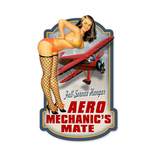 """AERO  MECHANICS""  VINTAGE METAL  SIGN"