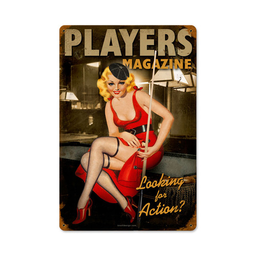 """POOL PLAYER PIN-UP GIRL""  VINTAGE METAL SIGN"