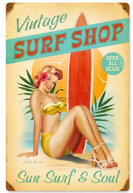 """SURFER  GIRL""  METAL  SIGN"