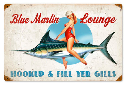 """BLUE  MARLIN  LOUNGE""  METAL  SIGN"