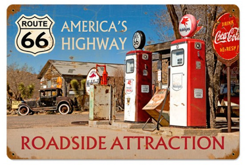 """AMERICA'S  HIGHWAY""  VINTAGE  METAL  SIGN"