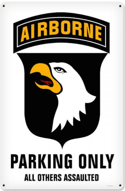 """AIRBORNE  PARKING"" METAL SIGN"