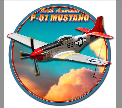 """P-51 MUSTANG""  3-D METAL SIGN"