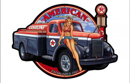 """AMERICAN  PETROLEUM GIRL""  METAL  SIGN"
