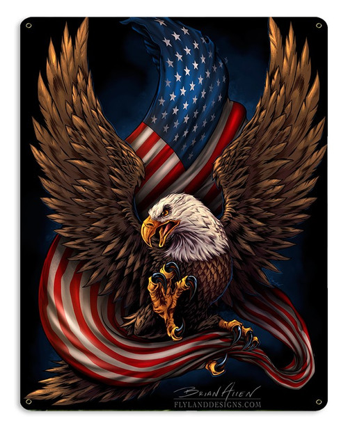 """EAGLE  AND  U.S. FLAG""  METAL SIGN"