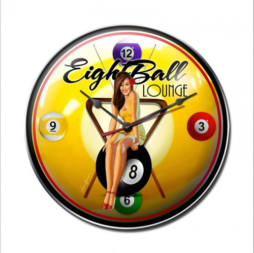 """EIGHT BALL LOUNGE & PIN-UP""  CLOCK"