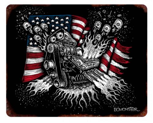 """PISTONS  AND  U.S.  FLAG""  METAL  SIGN"