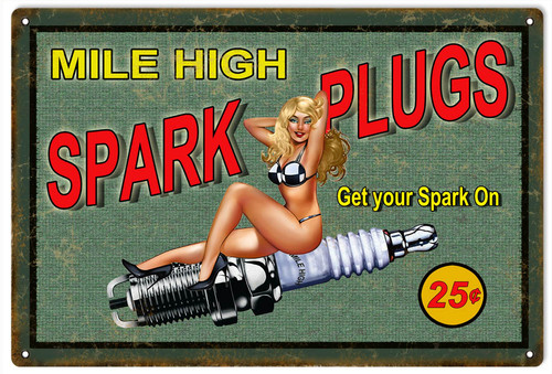 """SPARK  PLUGS  PIN-UP GIRL""  SIGN"