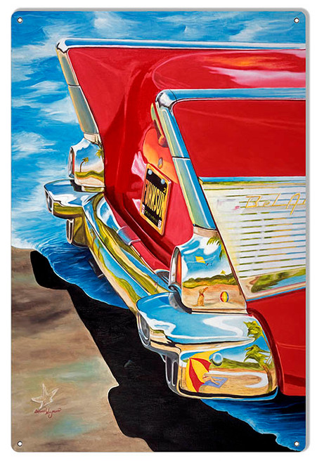 """""""REAR END CHEVY BEL AIR""""   METAL SIGN"""