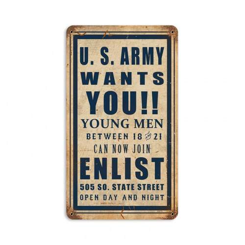 """ARMY  WANTS  YOU""  METAL  SIGN"