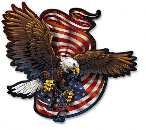 """DEFENDER  EAGLE ""  METAL  SIGN"