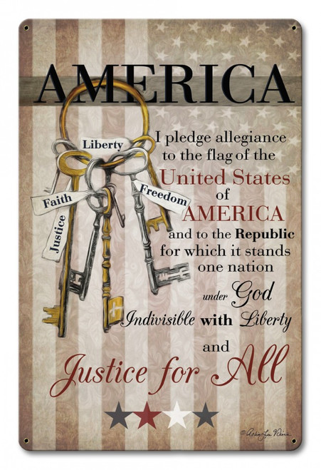 """America Pledge Of Allegiance""  Metal Sign"