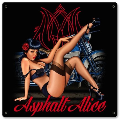 """""""ASPHALT  ALICE  PIN-UP  """"  METAL  SIGN"""